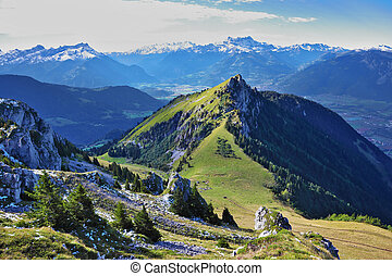 Swiss Alps. Mountain peaks near the resort of Leysin, on a...