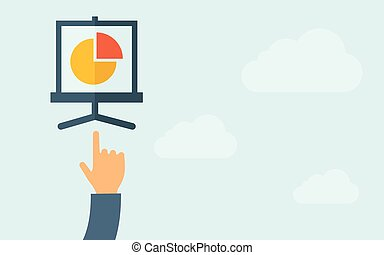 Hand pointing to pie chart - A hand pointing to pie chart A...