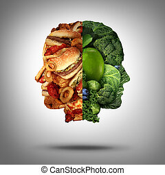 Food Concept - Food concept and diet decision symbol or...