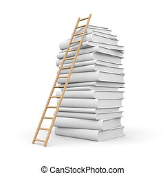 Book stack with stair - Education concept Isolated on white
