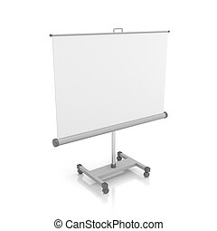 Projection screen or whiteboard. Isolated on white
