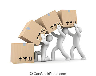People work with boxes Teamwork - Delivery metaphor Isolated...