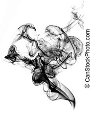 Black fume on the white background inverted