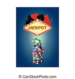 jackpot  - illustration of jackpot casino with chips stack