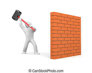Man smashes wall - People in action metaphor Isolated on...