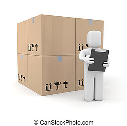 Person with clipboard and boxes - Business concept Isolated...