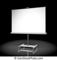 Projection screen or whiteboard on black