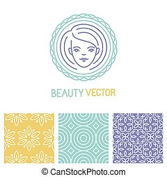 Vector beauty logo design template in trendy linear style...