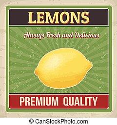 Lemons retro poster