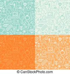 Vector seamless patterns with beauty related icons and signs...