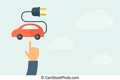 Hand pointing to rechargeable car icon - A hand pointing to...