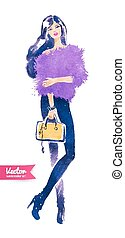 Fashion model with bag. Vector watercolor fashion...