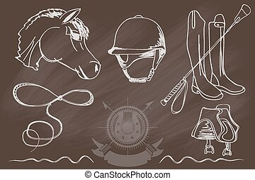 Silhouettes of horses and equipment