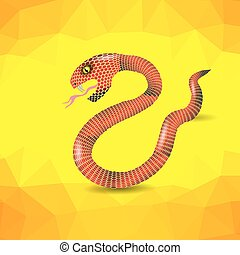 Red Snake. - Red Snake Ready to Attack on Yellow Polygonal...