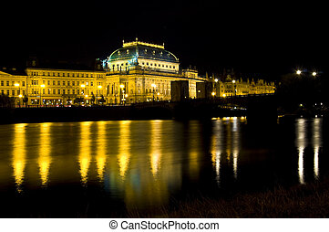 National theater - water front of the national theater in...