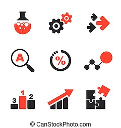 Research simple vector icon set - bottle, wheels, arrows,...
