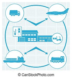 Logistics. Vector illustration. EPS 10. Opacity