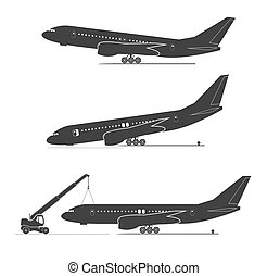 Emergency landing. Three scenes of airplane. Vector...