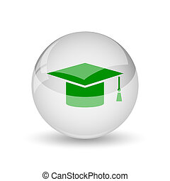 Graduation icon. Internet button on white background.
