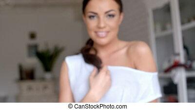 Close up Happy Woman Looking at the Camera
