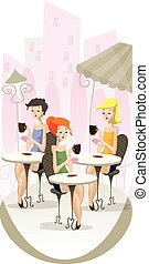 Girls sitting in cafe on the coffee