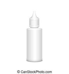 blanco, Medicina, botella, aislado, en, blanco, Plano de...