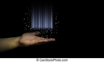 Barcode in hands on a black background