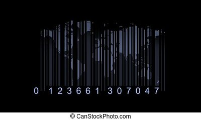 Global economy concept World map as a barcode world map as...