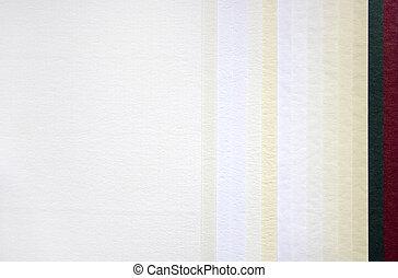 papel, Amostras, diferente, texturas, cores
