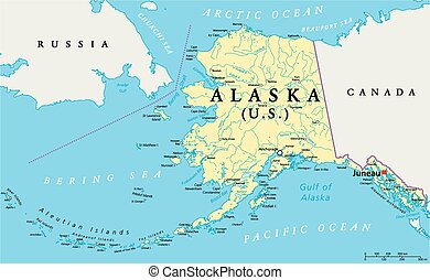 Alaska Political Map - US State Alaska Political Map with...