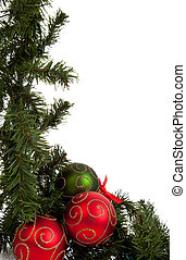 Christmas garland with red and green ornaments