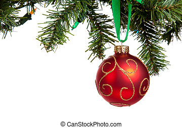 A red Christmas bauble hanging from garland