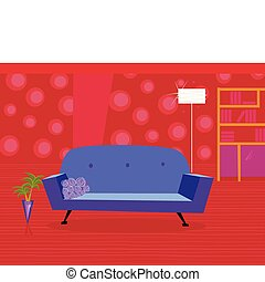 Red living room in retro style - Livingroom with sofa and...