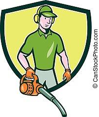Gardener Landscaper Leaf Blower Crest Cartoon