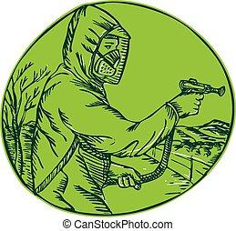Herbicide Pesticide Control Exterminator Spraying Etching
