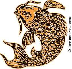 Koi Nishikigoi Carp Fish Jumping Etching - Etching engraving...