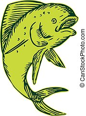 Dolphin Fish Jumping Etching - Etching engraving handmade...