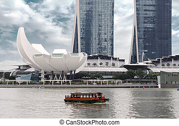 boat ride in Singapore - boat sailing in the bay of...