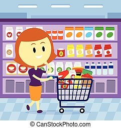 Woman Grocery Shopping - A WomanMom Grocery Shopping while...