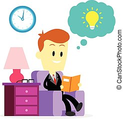 Businessman Reading A Book to Impro
