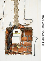Electricity meter - Unfinished wiring and electricity meter...