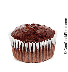 A chocolate muffin on white