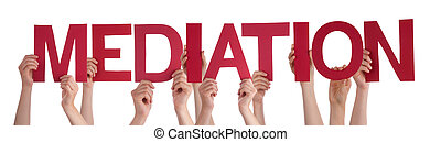 Many People Hands Holding Red Straight Word Mediation - Many...