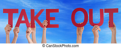 People Hands Holding Red Straight Word Take Out Blue Sky -...