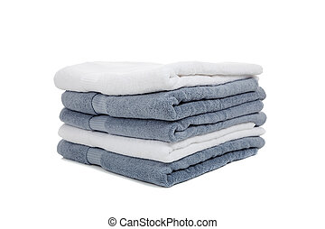 white and light blue or gray towels on white