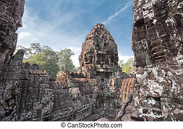 Bayon - carved stone towers in a khmer site