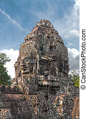 khmer site - carved stone tower in a khmer site
