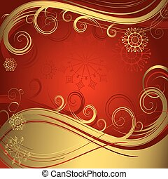 Red and golden christmas background vector - Red christmas...