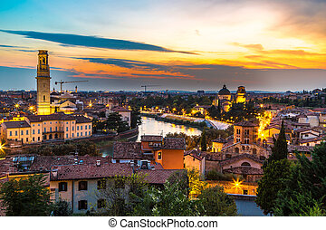 Verona at sunset in Italy - Panoramic view of Verona at...