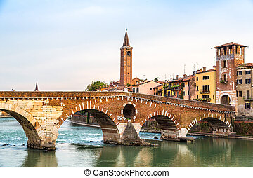 Bridge in Verona, Italy, - Ponte di Pietra. Bridge in Verona...